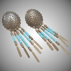 "Signed ""Q.T."" Sterling Silver & Turquoise Colored Beads Dream Catcher Dangle Earrings"