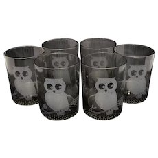 Set of 6 Smoky Black Glass Halloween Owl Old Fashioned Tumblers (in the style of Couroc Monterey Owl)