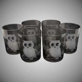 Smokey Black Glass Tumblers - Style of Couroc of Monterey Owl ~ Set of 6