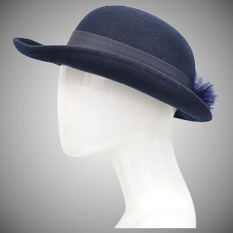 Deborah New York Navy Blue 100% Wool Bowler Hat