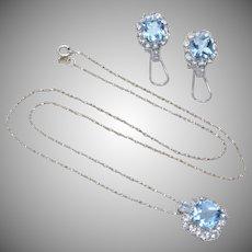 Blue & White Topaz Rhodium Pendant & Earring Set w/ Sterling Silver Chain