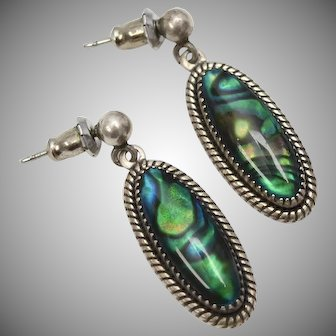 "Signed ""WMCO"" Sterling Silver Abalone/Paua Shell Dangle Earrings"