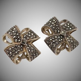 Signed Judith Jack Sterling Silver & Marcasite Flower or Bow Clip Earrings