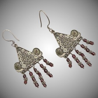 Sterling Silver & Red Garnet Etruscan Style Large Dangle Earrings