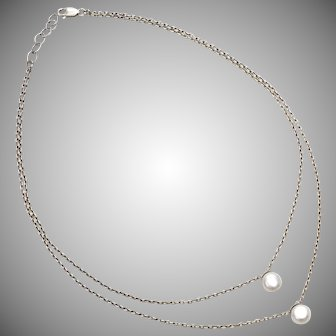 Sterling Silver Double Strand Necklace w/ Cultured White Pearls
