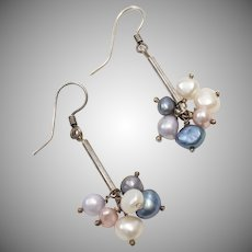Sterling Silver Bar Drop Cultured Pearl Cha Cha Earrings