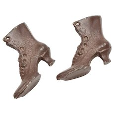 Dollhouse Miniature Metal Pair of Victorian Era Ladies Boots / Shoes