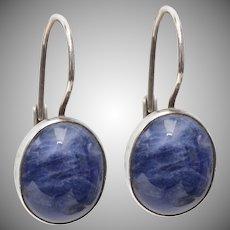 Sterling Silver & Sodalite Lever Back Earrings