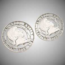 Coro Signed Silver-tone Coin Clip Earrings
