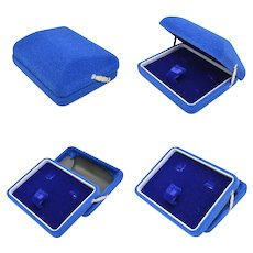 Blue Velvet Hinged Jewelry Box
