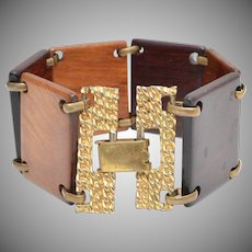 Multi-Stained Wood Block Gold-tone Clasp Bracelet