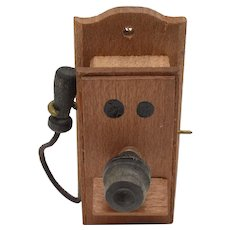 """c1972 """"Reevesline"""" Old-Fashioned Wood Crank Wall Phone w/ Removable Ear Piece"""