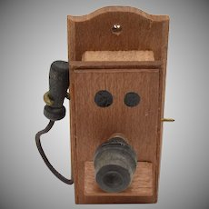 "c1972 ""Reevesline"" Old-Fashioned Wood Crank Wall Phone w/ Removable Ear Piece"