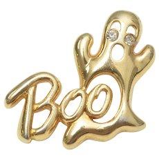 """""""Boo"""" Gold-tone & Rhinestone Eyes Ghost Pin/Brooch"""