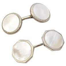 Mismatched Pair of Mother of Pearl (MOP) Silver-tone Cuff Links
