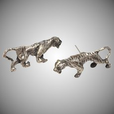 Sterling Silver Artisan Made Tiger Stud Earrings