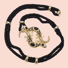 Black Rope w/ Heavy Gold-tone & Rhinestone Salamander Belt Buckle