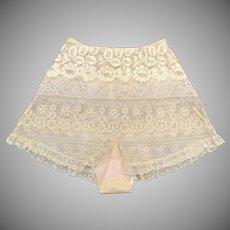 c1920s Art Deco Ecru Lace Tap Pants w/ Pink Silk Lining