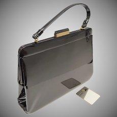 c1960s Crown Lewis Signed Large Black Patent Leather Handbag Purse w/ Original Mirror