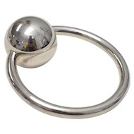 Silver Ball Chime Baby Rattle and Round Teether / Teething Ring