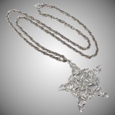 "24"" Long ""JJ"" Signed Silver-tone Necklace w/ Star Pendant"