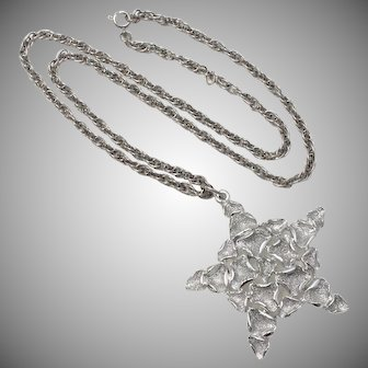 """24"""" Long """"JJ"""" Signed Silver-tone Necklace w/ Star Pendant"""