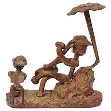 Unusual Brutalist Art Metal Nut & Bolt Cowboy w/ Guitar/Banjo Folk Art Handcrafted Sculpture