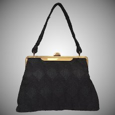 c1940s Black Corde Fabric Brass Plated Frame Handbag Purse
