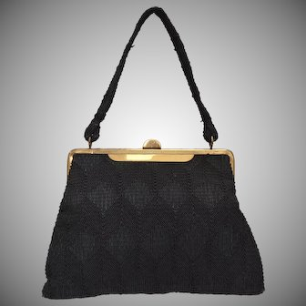 c1940s Black Corde Fabric Brass Plated Frame Handbag Purse