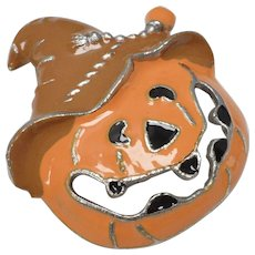 c1970s Orange Enamel Halloween Jack-o-Lantern Jagged Teeth Pumpkin w/ Witch Hat Pin/Brooch