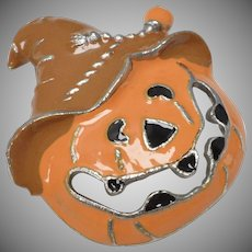 c1970s Orange Enamel Halloween Jack-o-Lantern Jagged Teeth Pumpkin w/ Witch Hat Pin/Brooch