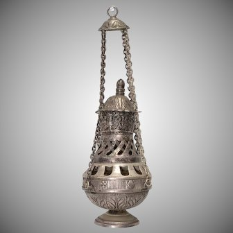 Antique Sterling Silver Church Censer Thurible Hanging Orthodox Incense Burner