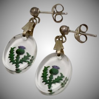 Sterling Silver Reverse Carved Painted Scottish Thistle Flower Dangle Earrings