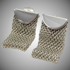 Unsigned Whiting & Davis Silver-tone Folded Mesh Clip Earrings
