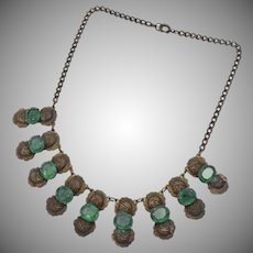 Victorian Era Emerald Green Glass & Brass Cabbage Rose Dangle Necklace