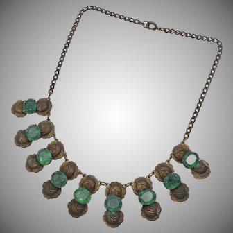 Victorian Era Emerald Green Glass & Brass Cabbage Rose Dangle Necklace