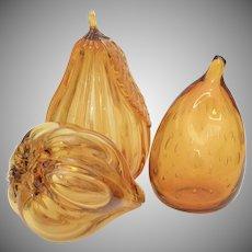Set of 3 Handblown Amber Glass Figural Fruit