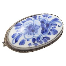 Signed Delft Holland 835 Silver Blue & White Porcelain Flower Pin