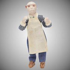 Dollhouse Artisan Made Workshop Man Doll w/ Wire Glasses & Apron