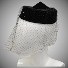 Black Velvet & Rhinestone Pill Box Hat w/ Veil