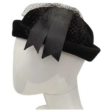 "Christine Original Black ""Peachbloom Velour"" Cloche Hat - Size 22"