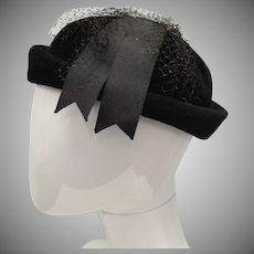 "Christine Original Black ""Peachbloom Velour"" Cloche Hat - Size 22"
