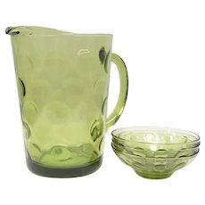 Anchor Hocking Avocado Green Depression Glass Pitcher & 3 Dessert Saucer/Dishes