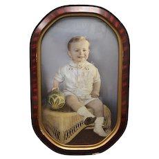 Antique Hand Tinted Color Photograph of Darling Boy w/ Toys in Faux Tiger Oak Convex Bubble Glass Oval Frame - Midwest Portrait Studios, Oregon