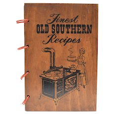 c1965 Finest Old Southern Recipes Cookbook w/ Genuine Wood Covers