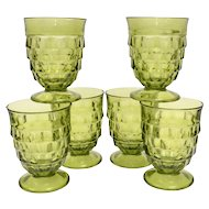 c1960s Set of 6 Colony Whitehall Avocado Green Cubist 9oz Footed Water Tumbler Glasses/Goblets