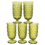 c1960s Set of 5 Colony Whitehall Avocado Green Cubist Parfait Footed Glasses
