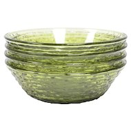 Set of 4 Anchor Hocking Avocado Green Soreno Glass Soup Cereal Salad Bowls