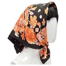 "Vera Signed Vibrant Orange, Black, & Pink Floral Square Scarf - 25.5"" x 25.5"""