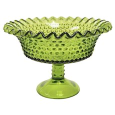 Westmoreland Avocado Green Crimped Edge Hobnail Glass Compote or Candy Dish